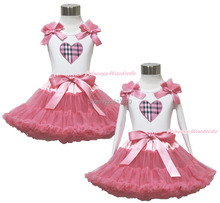 Valentine White Pettitop Top Shirt Plaid Heart Dusty Pink Bow Pettiskirt Dress Set 1-8Y MAPSA0532