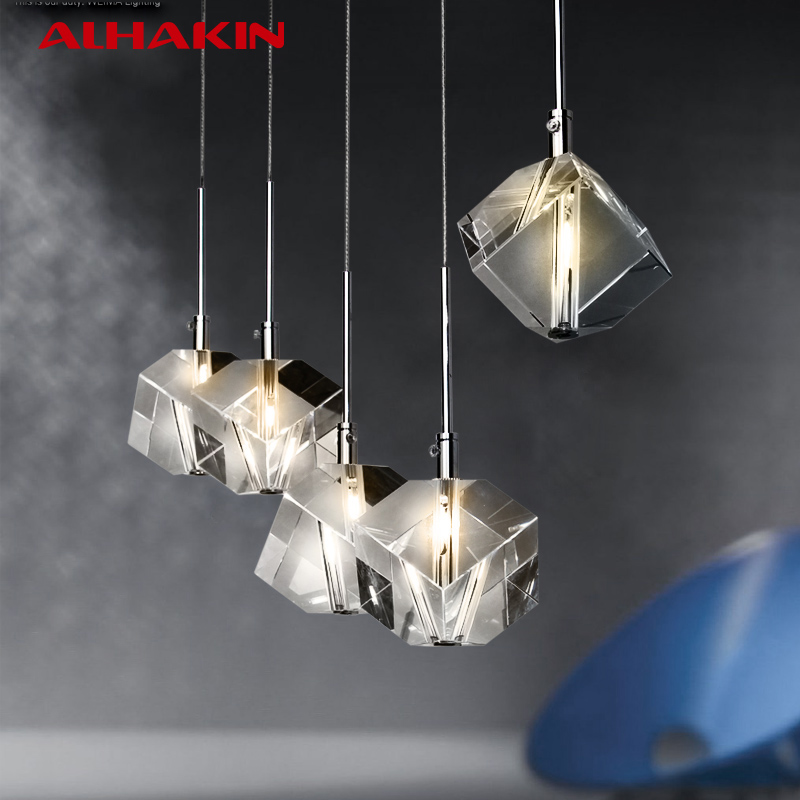 ALHAKING Luxury Pendant Light 1/5 Heads Dinning Room Hanging Lights Crystal G4 LED Bulbs Plated Stainless Steel Pendant Lighting<br><br>Aliexpress
