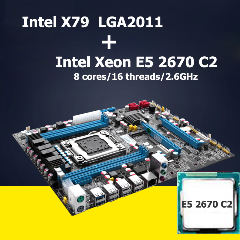 Intel Xeon E5 2670 C2 CPU motherboard set HUANAN X79 motherboard CPU kit LGA 2011 revision 2.47 support REG ECC 4 channels(China (Mainland))