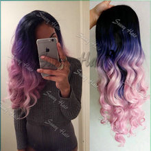 Ombre Black Blue Pink Hair DyeSexy Hair Colors Natural Wavy Haircuts Toyokalon Hair Lace Front Synthetic Wigs Heat Resistant Wig