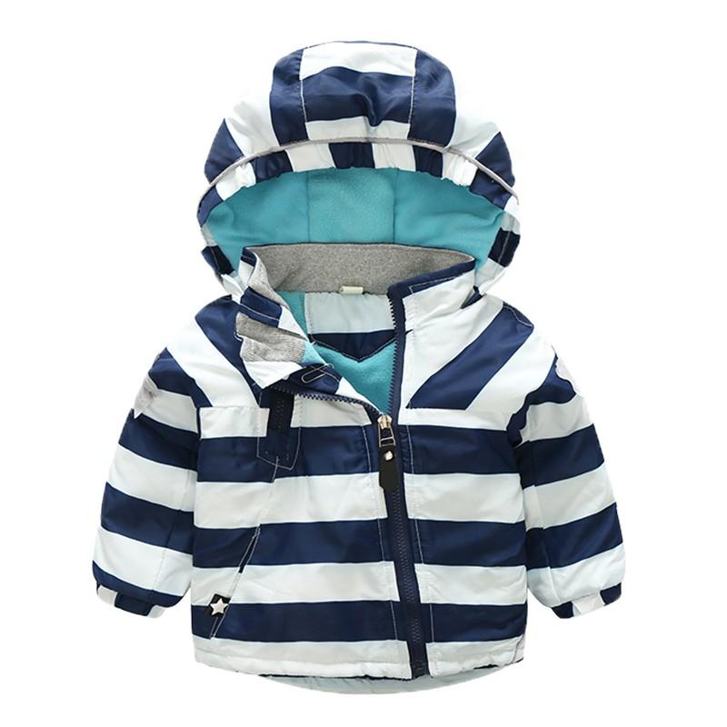 CROAL CHERIE 80-120cm Fashion Star Windproof Striped Jacket For Boys Winter Coat For Girls Children\`s Winter Velvet Clothes (6)