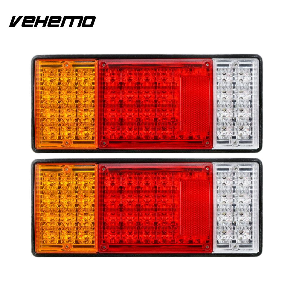 Vehemo Warning Lights Rear Lamps Tail Lights 44led 12V Super Bright Automobile Vehicle Accessories Caravan Reverse Lamps<br>