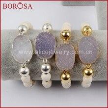 Borosa новый золотой Цвет Природный кристалл Druzy с гранеными Белый Howlite камень Бусины и бисер браслет ручной работы для женщин G1398 S1398(China)