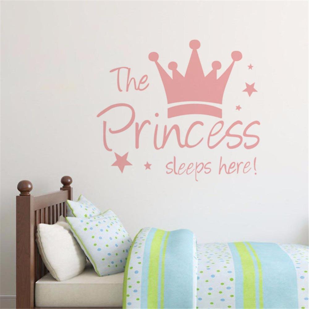 HTB1U PSdcrI8KJjy0Fhq6zfnpXau - Yanqiao The Princess Sleeps Here Crown Pink Wall Sticker