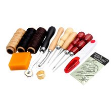 13Pcs New Leather Craft Hand Stitching Sewing Tools Thread Awl Waxed Thimble Kits