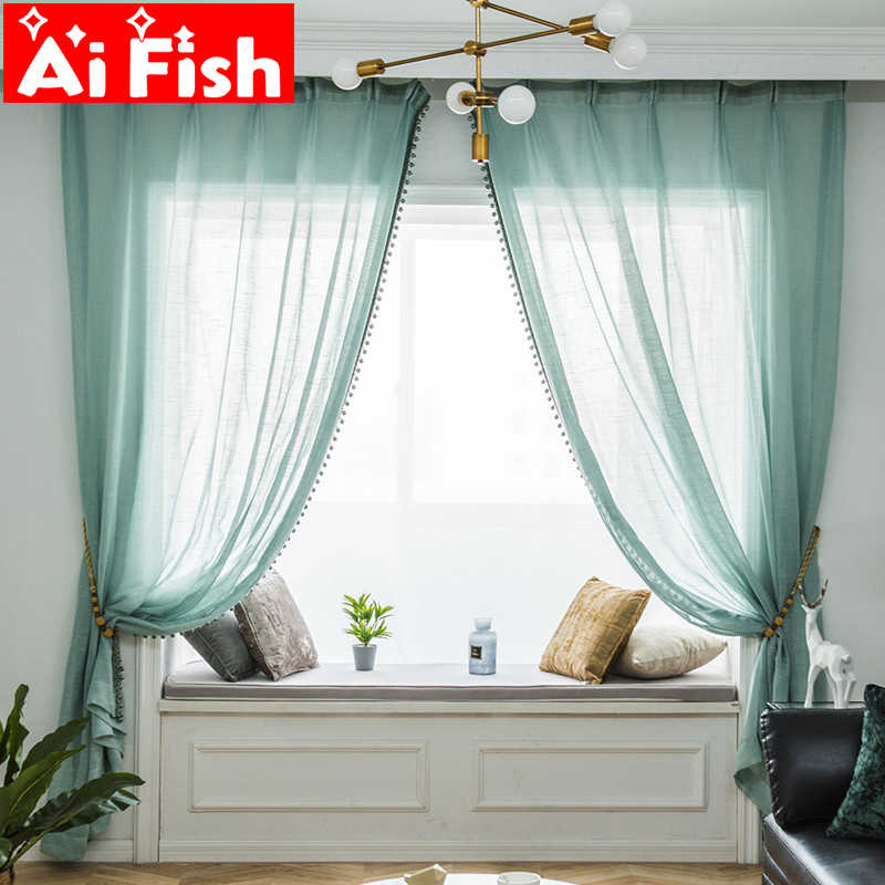 Beads+Curtain Tulle  Mint Green Polyester-cotton Window Screen Sheer For Bedroom American White Tulle For Living Room MY084-40