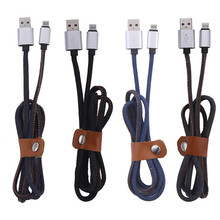 Metal Denim USB Cable Charging Cord 2.0 Data sync Charger Cable for iPhone 5 5S 6 6s plus ipad Power Cord
