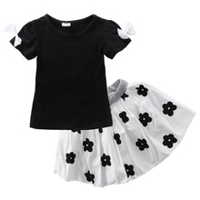 Infant Toddler Baby Girls Summer Party Princess Flower Tutu Dress Kids Shirt Skirts 2PCS Outfit