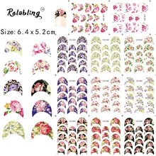 2017 New Arrival Fan-shaped Flowers With Chinese Tese Water Transfer Sticker Nail Art Decals Fingernail Stickers For Nail Art(China)