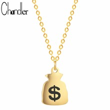 Chandler 2017 New Gold Color Fund Sources Money Bag Dollar Wallet Pendant Necklace Body Indian Lucky Enthic Jewelry Drop Shipper