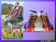 amusement cartoon inflatable slide,inflatable trampoline,inflatable jumping bed(China)