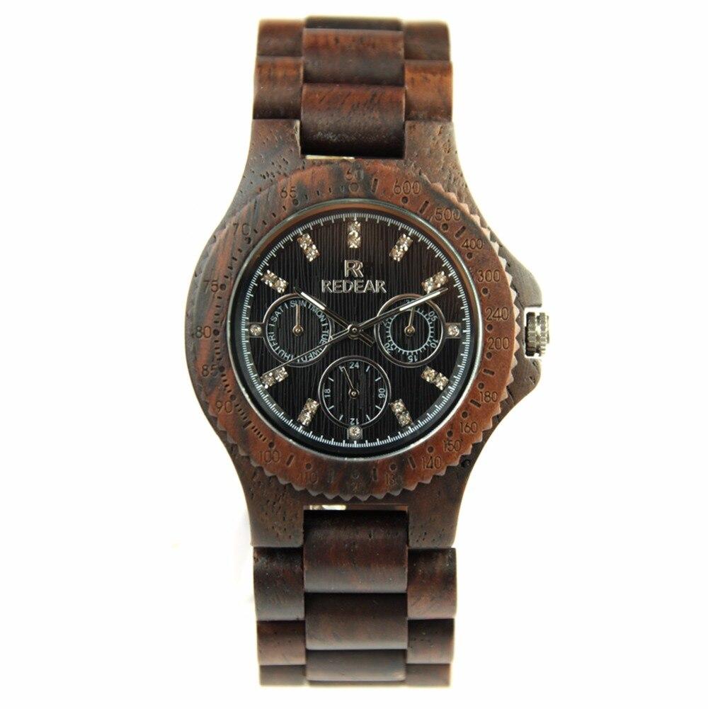 Womens Wood Watch Japan Movement Quartz Watch False Six Needle Design Wristwatches<br>