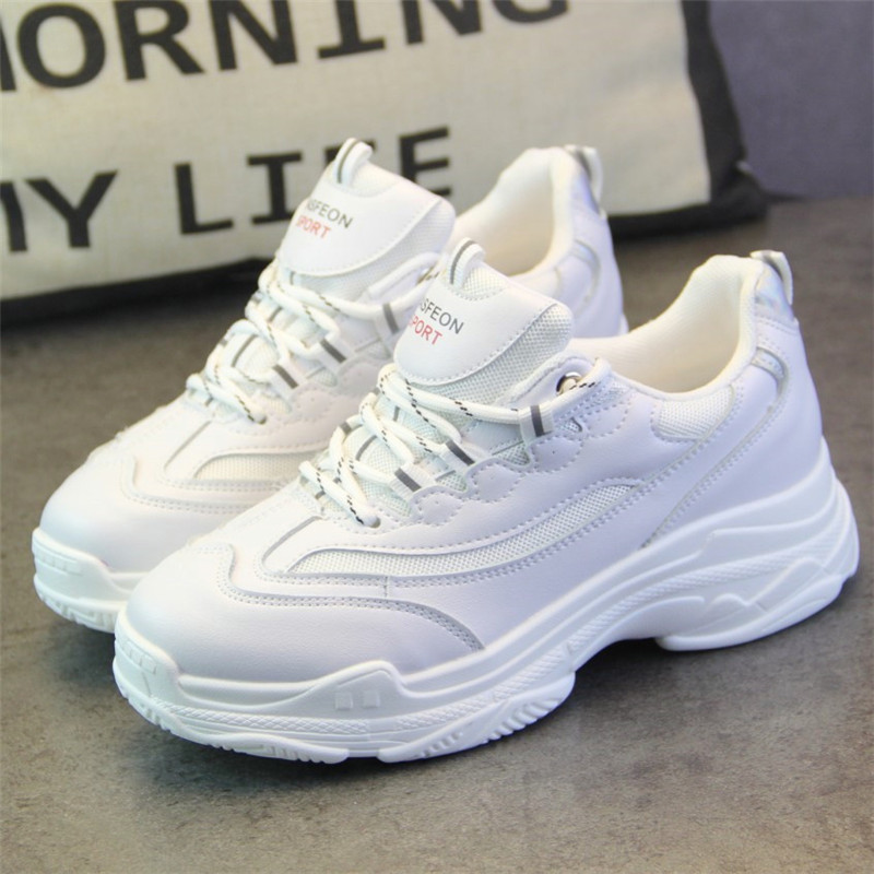 SWYIVY Sneakers Shoes White Woman 2019 Spring New Female Platform Plain White Canvas Shoes PU Leahter Lady Fashion Flat Sneakers