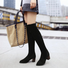 Big size 34-45 New Black red women's Suede Thigh High Boots Sexy elastic Over the Knee Boots Thick Heels Footwear Women Shoes