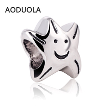 Buy 10 Pcs Lot Silver Alloy Beads Smiling face star DIY Big Hole Beads Spacer Murano Bead Charm Fit Pandora Charms Bracelet for $2.43 in AliExpress store