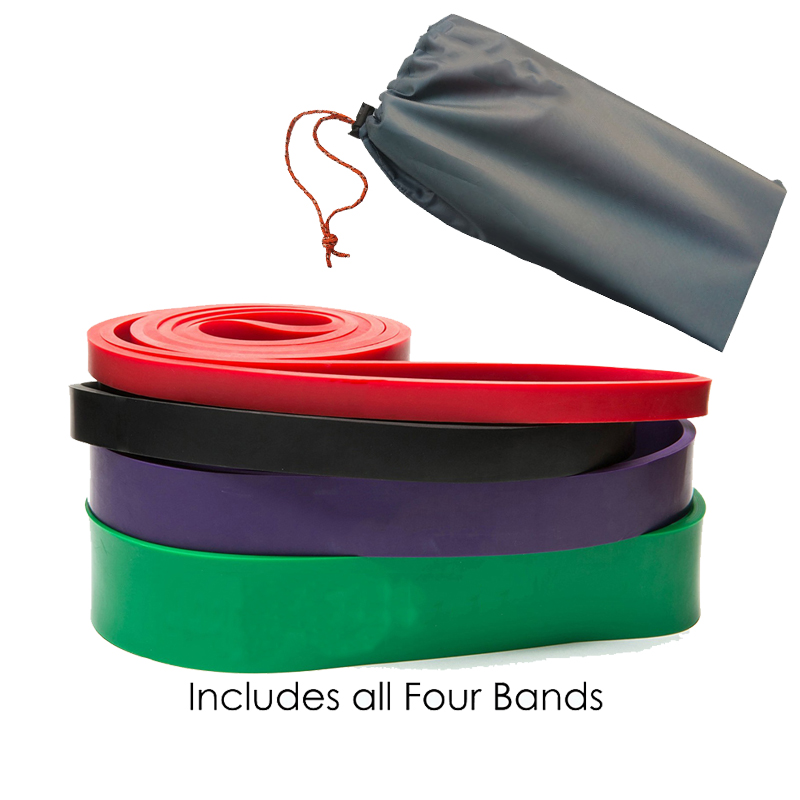 New Set of 4 Natural Latex Athletic Rubber Resistance Bands set Gym Expander Crossfit Power Lifting Pull Up Strengthen Muscles<br>