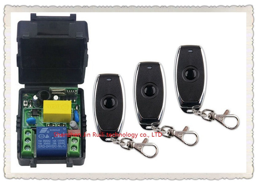 latest AC 220 V 1CH Wireless Remote Control Switch System 1pcs Receiver + 3pcs one-button metal Remote 315mhz/433mhz for JRL2201<br><br>Aliexpress