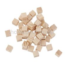 50Pcs Natural Wooden Squre Mini Cubes Embellishment for Craft 10x10x10mm