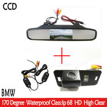 Wireless Color CCD Car Rear View Camera for BMW 1357 series X3 X5 X6 Z4 E39 E53 E46 with 4.3 Inch Rear view Mirror Monitor(China)