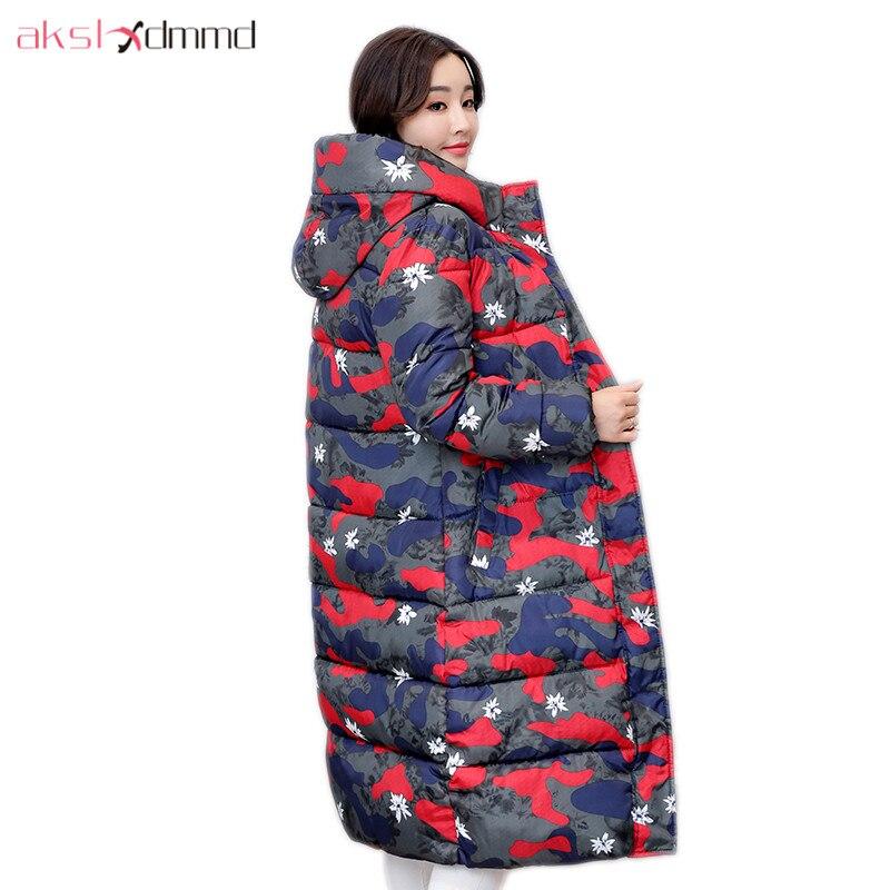 AKSLXDMMD Winter Jacket Women 2017 New Winter Plus Size Printed Camouflage Slim Hooded Pocket Long Coat Female Parkas LH1055Îäåæäà è àêñåññóàðû<br><br>