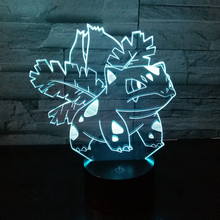 Pokemon go 3D Venusaur Lamp Pocket Monster Action Figure Collectible Decor Light 7colors changed Baby Nightlight Child Kids Gift
