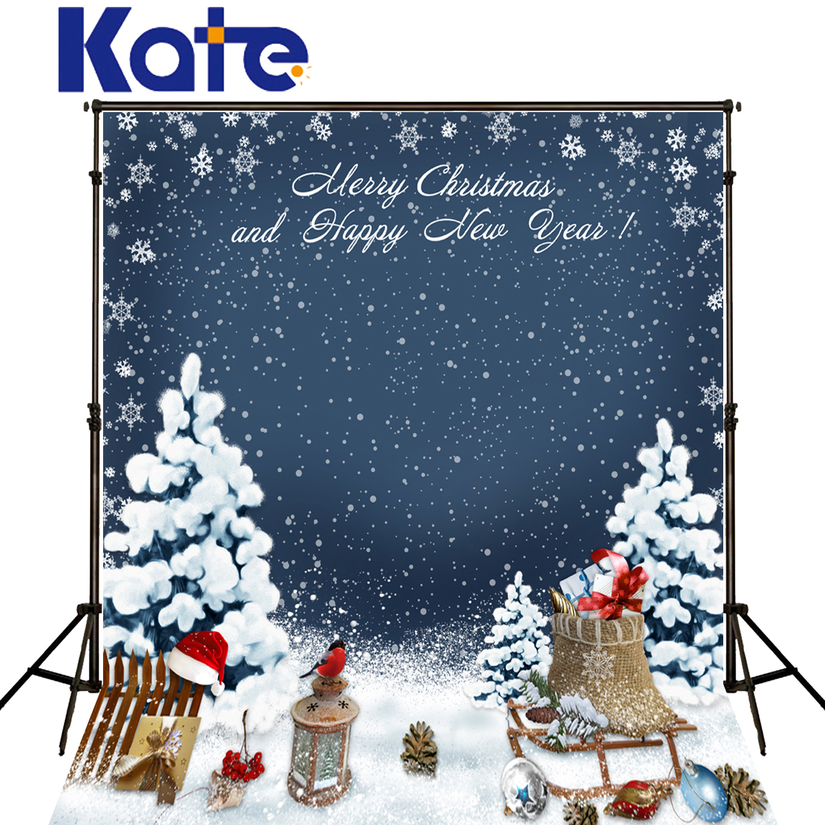 Kate Merry Christmas Backdrop Photography Red Hat Snow Falling Sled Winter Blue Photographic Background For Photo Studio J02151<br>