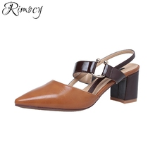 Rimocy european style pointed toe thick heels woman sandals 2017 brand design straps high heeled pumps elegant party club shoes