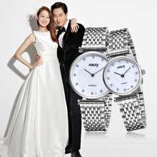 New Nary Luxury Brand Lover Watches Fashion Men's Full Stainless Steel Quartz Couple Watch Women Rhinestones watches 1 pcs price