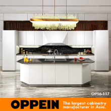 NEW design kitchen cabinet high gloss White lacquer kitchen cabinets Blum Hardware kitchen furniture OP16-117(China)