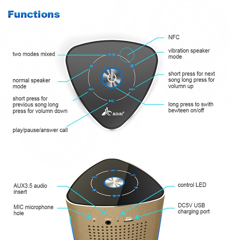 ADIN 36W Bluetooth Speakers High Power Vibration Speaker Metal Three Units NFC Stereo 3D Surround Touch Computer Phone Speaker (5)