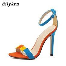 Eilyken Gladiator Women Sandals Shoes Ankle Strap Buckle High Heel Pumps  Dress Summer Concise Sandals Shoes Blue 570f9985c6e7