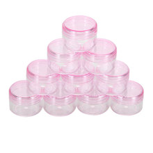 10Pc cosmetic sifter jars Pot Box Nail Art Cosmetic Bead Storage Makeup Cream Box Plastic Container Round Bottle Pink(China)