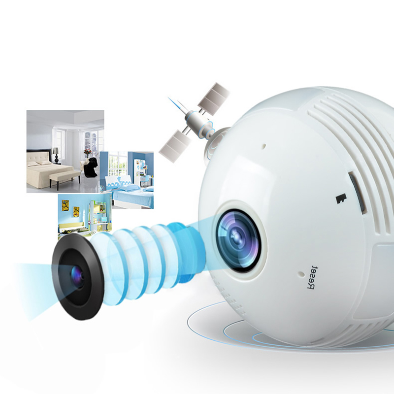 960P Wi-Fi Wireless IP camera, camera home security, fish eye bulb, IP HD Camcorder night vision light bulb 360 degree Panoramic<br>