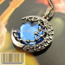 Free shipping cheap Retro  Lovely City Moon Necklace rhinestone necklace Alloy crescent Pendant Chain Necklace special offer