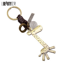 Hot sale Gunmetal Mini Tattoo Giraffe trinket Charm keychain Alloy Key Ring For Women key chains Lovely Jewelry Gifts(China)