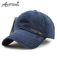 [AETRENDS] 2017 New Men's Washed Denim Sun Visor Baseball Caps Men Cotton Polo Cap Z-2207()