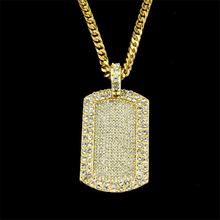 Hip Hop Men Gold Color Full Rhinestone Dog Tag  Pendants Necklaces With 70cm Long Sweater Necklaces Cube Chain Jewelry