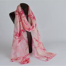 HL767 Women's 100% Mulberry silk pashmina printing scarf  8 momme silk georgette  55cm*180cm hand screen print made in Hangzhou