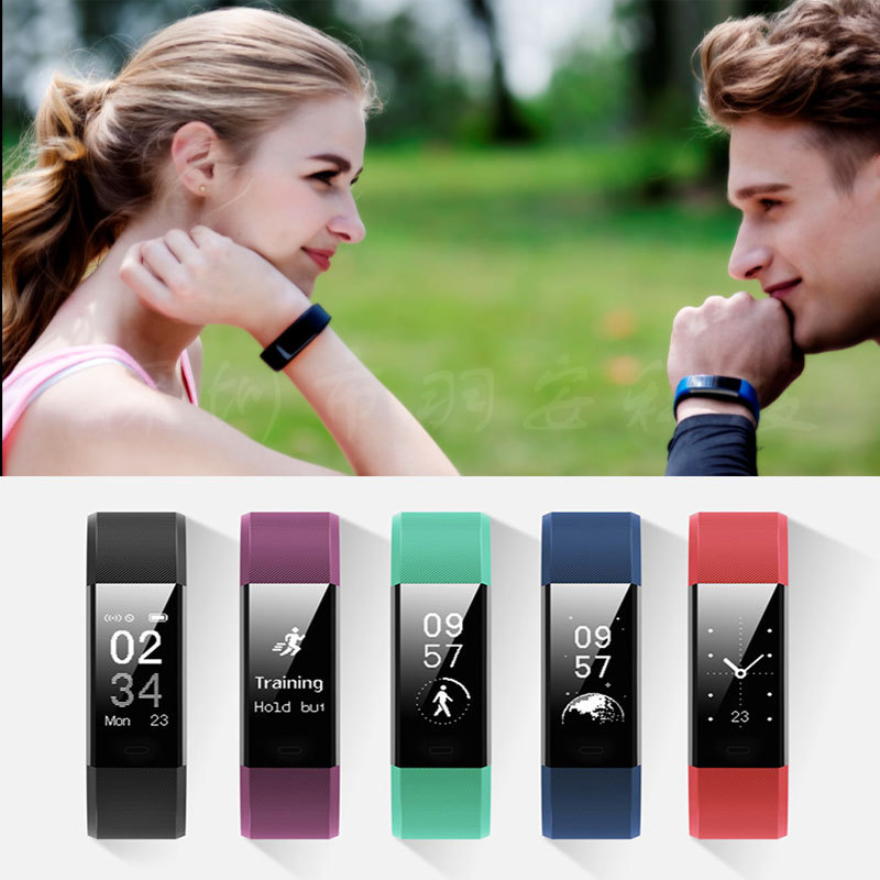 The new ID115Plus HR smart step bracelet heart rate test waterproof phone calls reminding WeChat push against the lost<br>