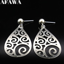 2017 Stainless Steel Long Stud Earings for Women Fashion Silver Color Clouds Earing Women Jewelry orecchini pendenti E61219(China)