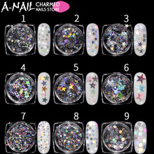 9jar/set Holographic Gold Nail Confetti iridescent Sequins Star Round Sparkle Holo Acrylic Tips Nail Art Decorations tools(China)