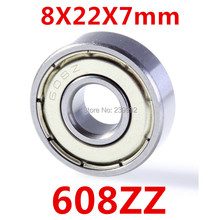 50pcs/lot  608 608ZZ ABEC-5 8X22X7 608Z Miniatura Deep Groove Ball Bearing 608