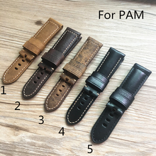TJP Special offer 24mm Brown Black Replace PAM PAM111 Vintage Italy Calf Leather Watch bands Strap PAM441 44mm Case With Word