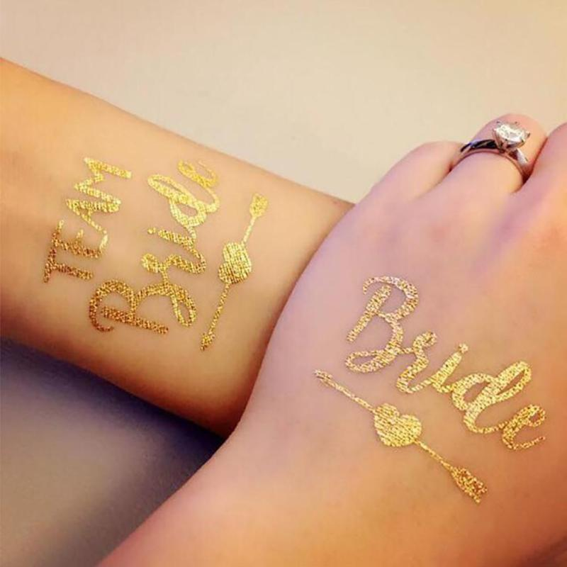 1Pc Bride Temporary Tattoo Bachelorette Party bride Flash Tattoos Creative Gold Bridesmaid bridal shower wedding decoration Z3 19