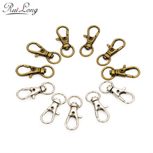 20pcs/lot Bronze rhodium lobster Clasp Clips Key Hook Keychain Split Key Ring Findings Clasps For Keychains Making