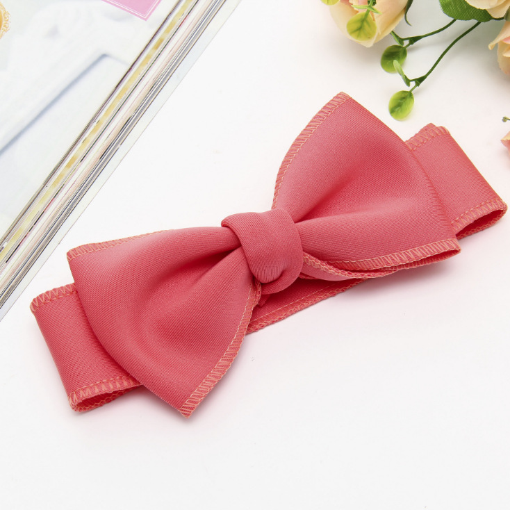 Fashion kids infant child girls head wraps tiara elastic ribbon headband satin big bows headwrap hair bands Accessories For Party (14)