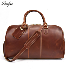 "High quality Genuine Leather travel duffel Women Men Fashion shiny Red Real cow leather 20"" travel bag Boston Weekend tote(China)"