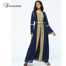 Muslim Golden Trim Embroidery Maxi Dress Chiffon Abaya Suit Cardigan Long Robe Ramadan Middle East Islamic Arab Prayer Clothing(China)