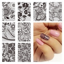 WUF 1 Pc DIY Nail Water Decals Lace Flower Designs Transfer Stickers Nail Art Sticker Tattoo Decals