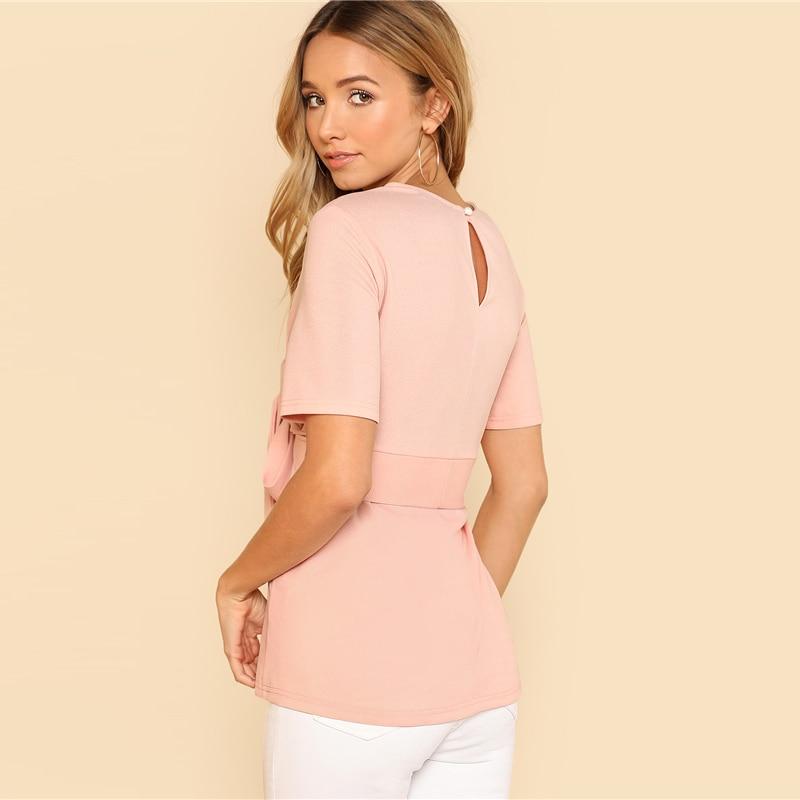 Sheinside Self Belt Keyhole Back Blouse Solid Short Sleeve Top 18 Summer Women Office Ladies Work Elegant Blouse 10